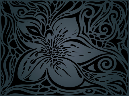 Black ornate Flowers, Floral decorative vintage Background trendy fashion wallpaper design