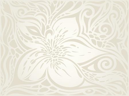 Wedding Floral decorative vintage Background Ecru Bege pale Flowers wallpaper pattern design