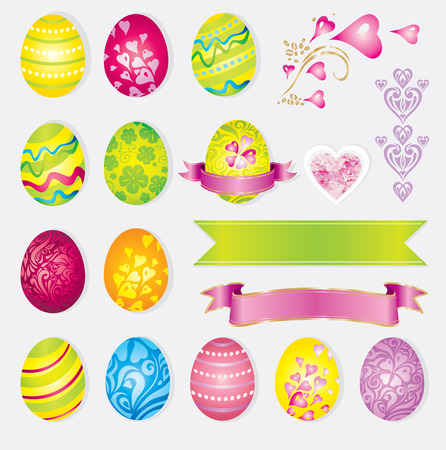 Vector colorful set of easter elements – eggs, rabbits, ribbons 向量圖像