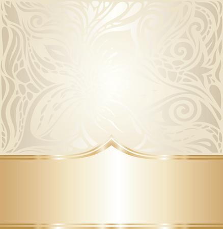 Wedding Floral decorative vintage Background Ecru Bege pale wallpaper pattern design with golden copy space Ilustração