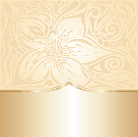 Floral Retro wedding pale peach background design with gold copy space Stok Fotoğraf - 104762423