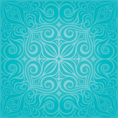Turquoise Flowers, decorative ornate holiday vector vintage background floral mandala design Vetores