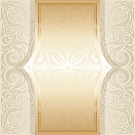 Wedding Floral decorative vintage mandala Background Ecru Bege pale wallpaper pattern design with golden copy space