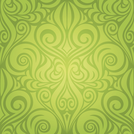 Green Floral Easter Decorative ornate pattern vintage wallpaper vector spring design backround