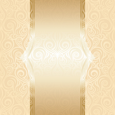 Wedding pale background ornate decorative design with gold copy space