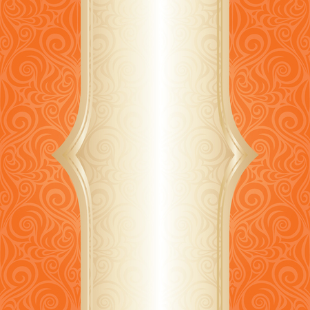 Orange Retro colorful wallpaper background fashion repeatable design with gold copy space Stock Illustratie