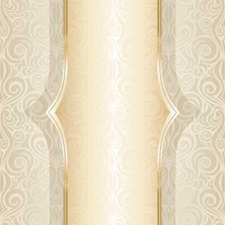 Wedding ornate decorative vintage mandala Background Ecru Bege pale wallpaper pattern design with golden copy space