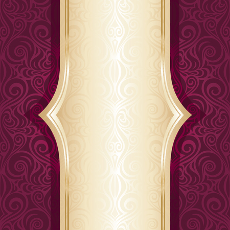 Royal red and gold luxury invitation repeatable design in fashion vintage style with gold copy space