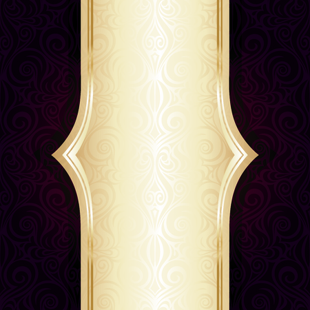Dark Brown Red wallpaper vector invitation repeatable design background with gold copy space
