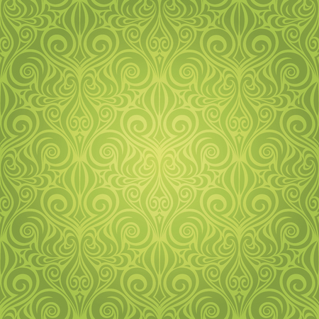 Green Floral Easter Decorative ornate pattern vintage wallpaper vector repeatable design backround