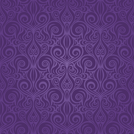 Violet purple vintage seamless pattern Floral background ornate wallpaper design Stock Illustratie