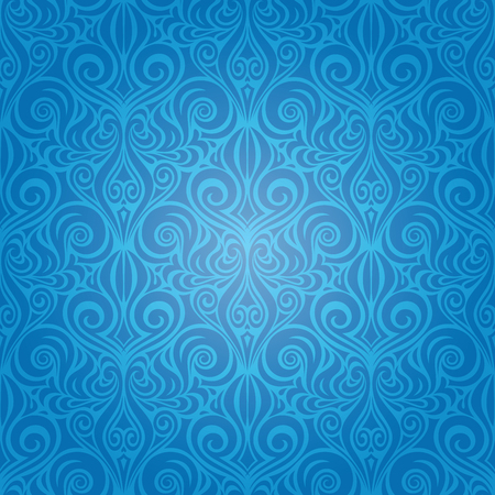 Blue Decorative Vintage Wallpaper Background ornate repeatable design Stock Illustratie