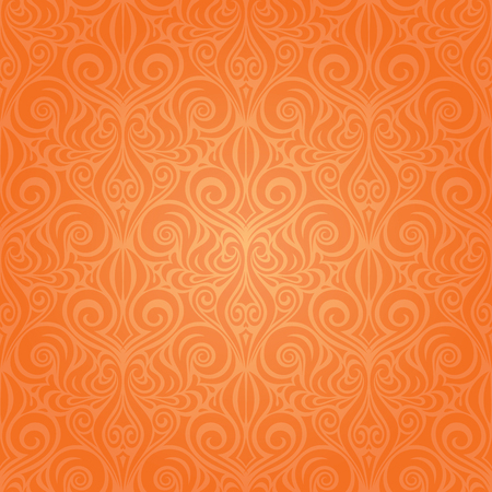 Orange Retro style colorful Floral repeatable wallpaper background trendy fashion design