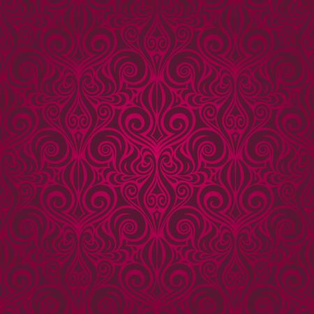 Dark Red decorative Flowers, floral ornate decorative vector pattern wallpaper repeatable design Background Illustration