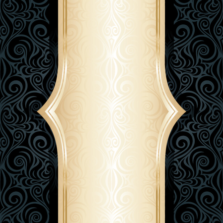 Decorative black & gold floral luxury wallpaper background trendy repeatable design in vintage style Stock Illustratie