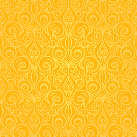 Yellow colorful floral wallpaper background repeatable pattern vintage design Stock Illustratie