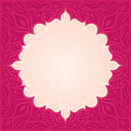 Red floral vector pattern wallpaper background trendy fashion mandala design with copy space Stock Illustratie