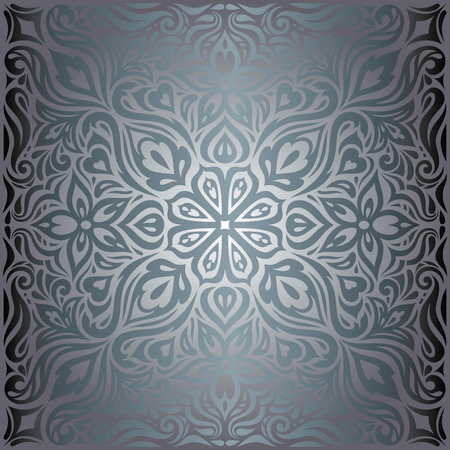 Silver Flowers, Floral shiny decorative vintage wallpaper Background trendy fashion ornate mandala design Stock Illustratie