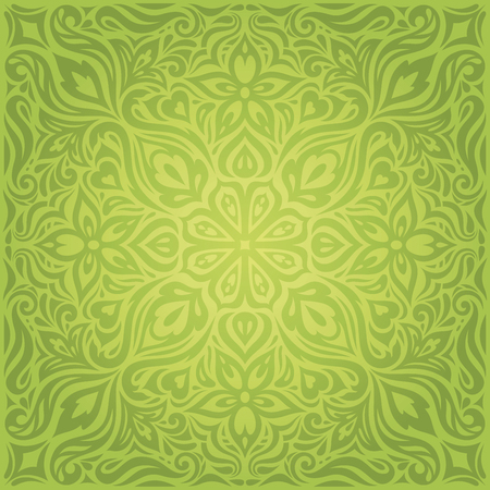 Green Floral Easter Decorative ornate pattern vintage wallpaper vector mandala design backround Stock Illustratie