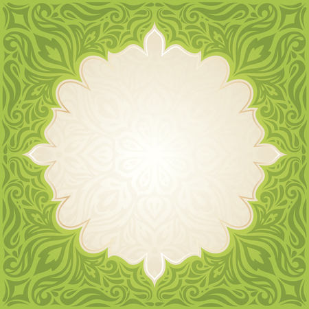 Green Easter floral vintage wallpaper vector mandala design backround with copy space