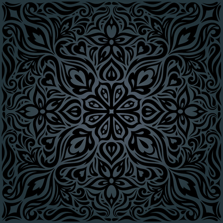 Black ornate Flowers, Floral decorative vintage Background trendy fashion wallpaper mandala design