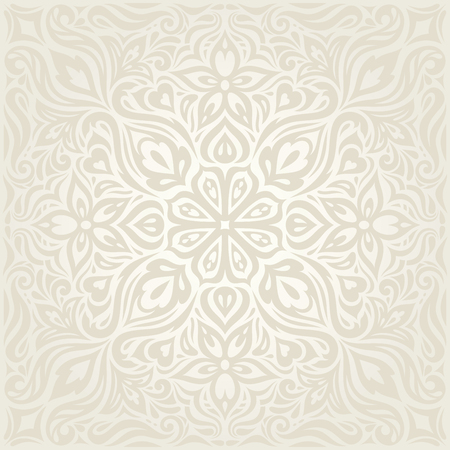 Wedding Floral decorative vintage Background Ecru Bege pale Flowers wallpaper pattern mandala design