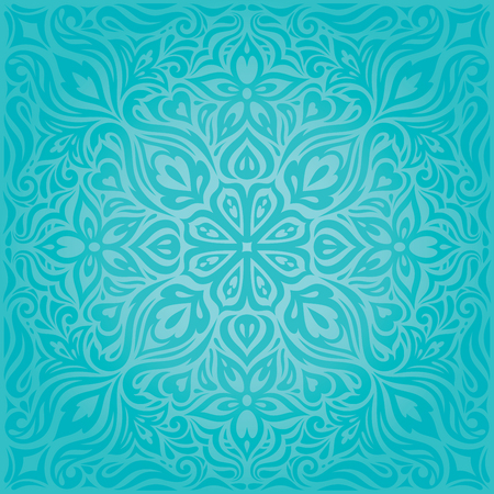 Turquoise Flowers, decorative ornate holiday vector vintage background floral mandala design