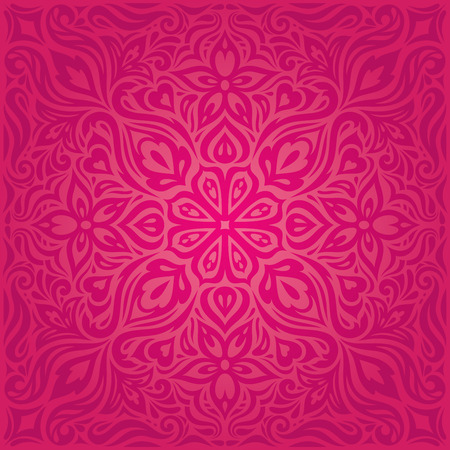 Red Flowers, Gorgeous decorative Floral fashion background wallpaper mandala design