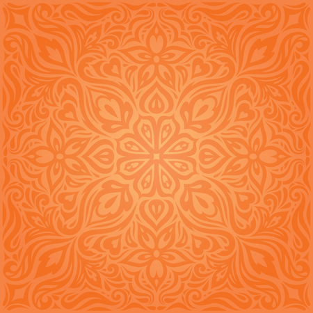 Flowers Orange Retro style colorful Floral mandala wallpaper background trendy fashion design