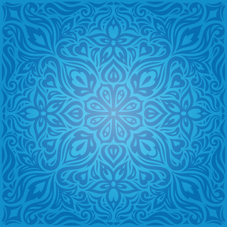 Blue Decorative Flowers,Vintage Wallpaper Background ornate fashion ornate mandala design Stock Illustratie