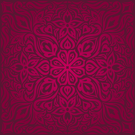 Dark Red decorative Flowers, floral ornate decorative vector pattern wallpaper mandala design Background