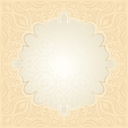 Floral Retro wedding pale peach background mandala design with gold copy space