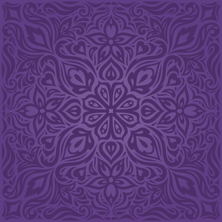 Violet purple Flowers, ornate vintage seamless pattern Floral background trendy fashion mandala design