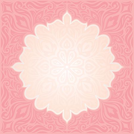Pink & silver retro decorative invitation vector wallpaper trendy fashion mandala design with copy space