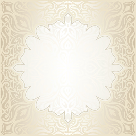 Wedding Floral decorative vintage mandala Background Ecru Bege pale wallpaper pattern design with golden copy space