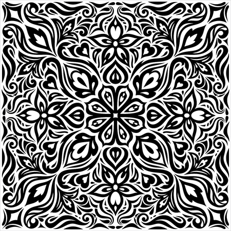Decorative Flowers in Black & White, Floral decorative ornate Background tribal tattoo graphic mandala design