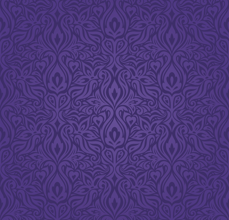 Violet purple Floral  vintage seamless pattern background fashion trendy colorful wallpaper design