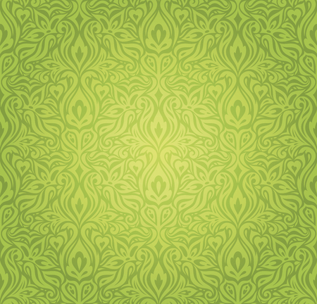 Green Floral vintage wallpaper vector design backround Stock Illustratie