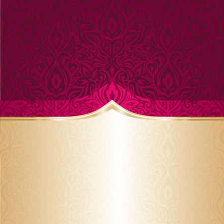 Background Floral red and gold  luxury vintage fashion invitation design retro trendy pattern