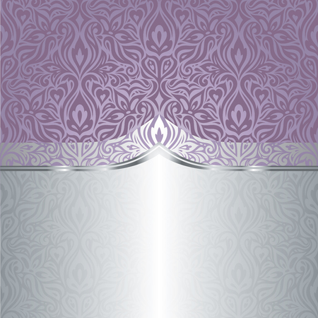 Wedding Floral violet silver vector holiday background design