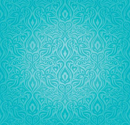 Diseño de fondo vintage de vacaciones florales turquesas patrón de papel tapiz de moda azul a verde de moda Ilustración de vector