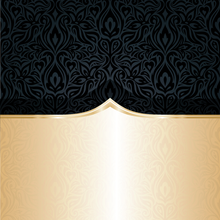 Decorative black & gold floral luxury wallpaper background design in vintage style