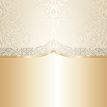 Floral wedding invitation wallpaper trend design in ecru & gold, with blank space Stock Illustratie