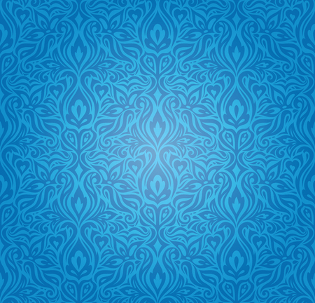 Blue vintage seamless wallpaper background design with decorative flowers Stock Illustratie