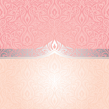 Pink & silver retro decorative invitation trendy vector wallpaper design in vintage style Stock Illustratie