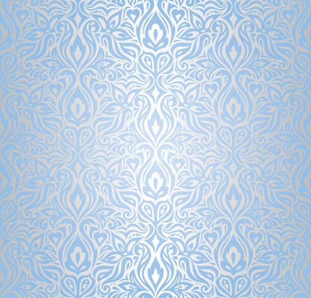 Wallpaper Blue and silver floral vector seamless decorative background design fashion trendy pattern damask