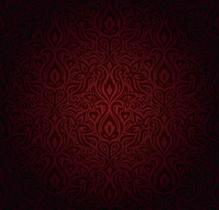 Dark red brown floral wallpaper seamless vector design background in vintage style