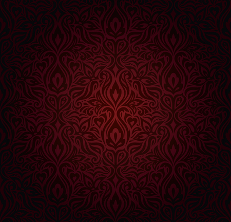 Dark red brown floral wallpaper seamless vector design background in vintage style