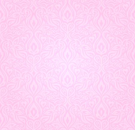 Wedding floral Pink decorative vector pattern wallpaper design Illustration