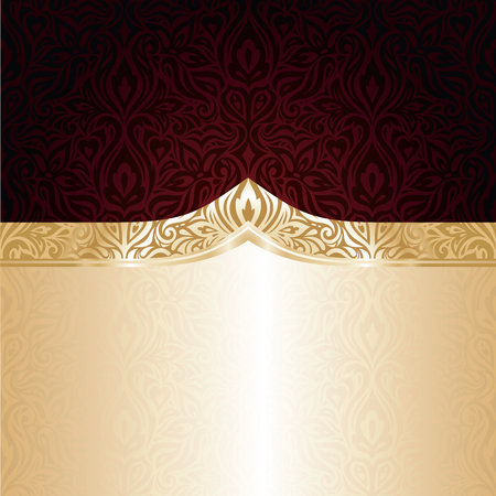 Dark Brown Red wallpaper vector invitation design background with gold copy space
